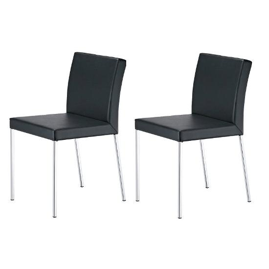 Fantastic 2X Black Faux Leather Dining Chairs Homehighlight Co Uk Pdpeps Interior Chair Design Pdpepsorg