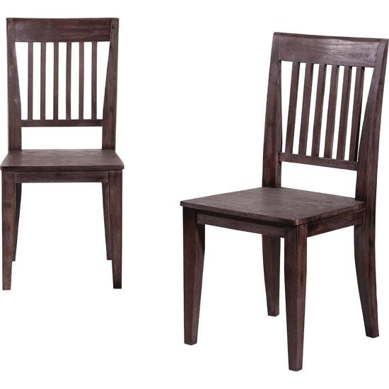 2x Dark Wooden Dining Chairs HomeHighlightcouk