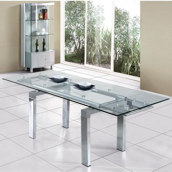 Clear extendable glass dining table for Extendable glass dining table