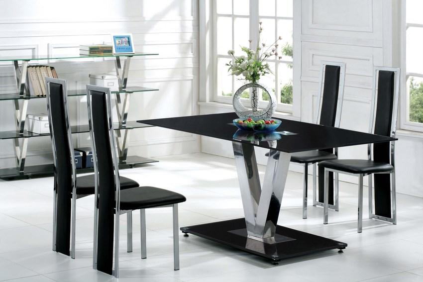 Contemporary Black Glass Dining Set
