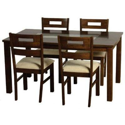 Dark Wooden Dining Table Set
