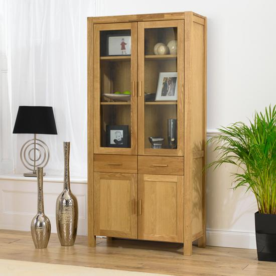 Double Oak Display Cabinet Homehighlight