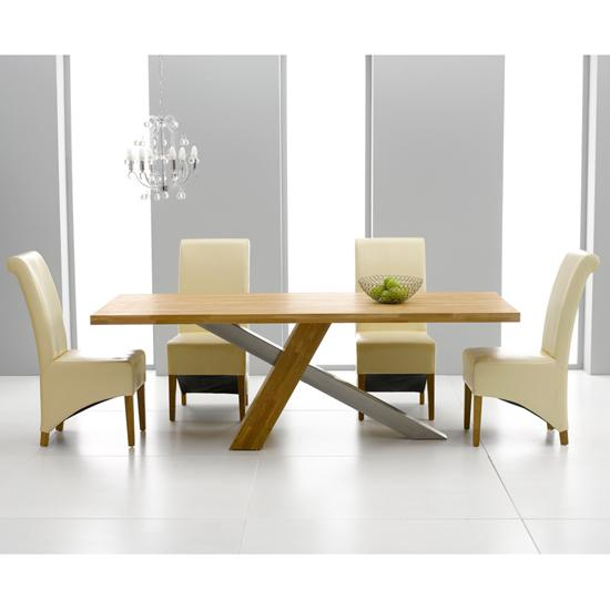 solid oak dining table set with chairs