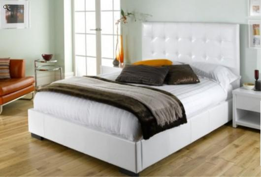 absence of a footboard using instead a solid white thick leather bed frame the polar savoy leather bed frame is simple understated and exquisite - White Leather Bed Frame