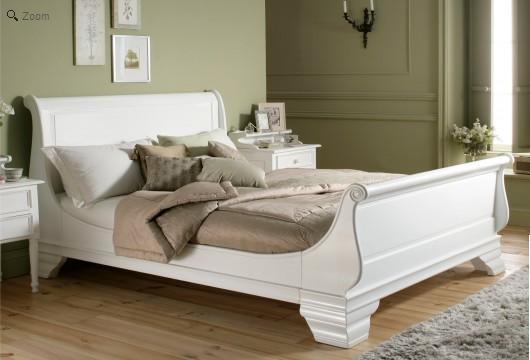 white wooden sleigh bed. Black Bedroom Furniture Sets. Home Design Ideas