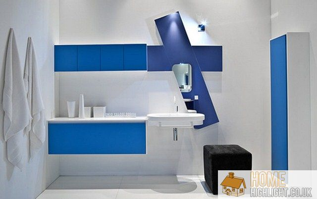 blue and white bathroom ideas. pale blue paint brightens up
