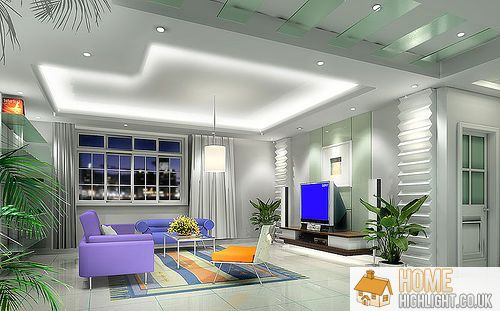 28 cool colourful living room design photos home highlight - Blue and silver living room ...