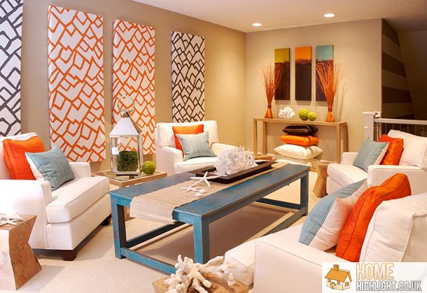 Modern Black House Bright Accents The Eyes Are Drawn To The Modern Orange White And Black Canvas Wall