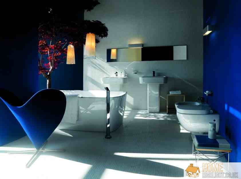 Modern blue bathroom designs ideas home highlight for Dark blue bathroom decor