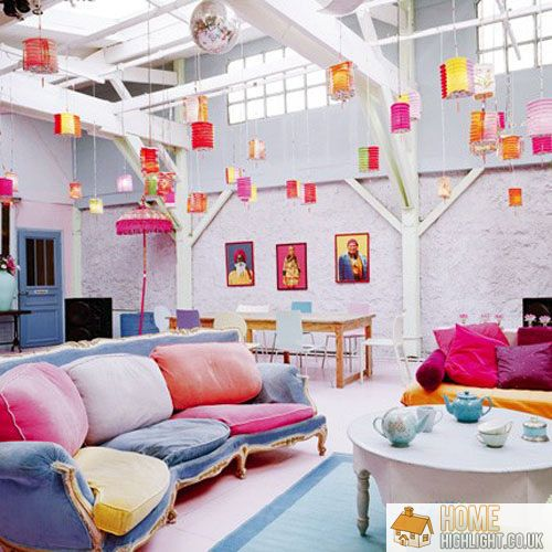 28 cool colourful living room design photos home highlight for Multi color living room ideas