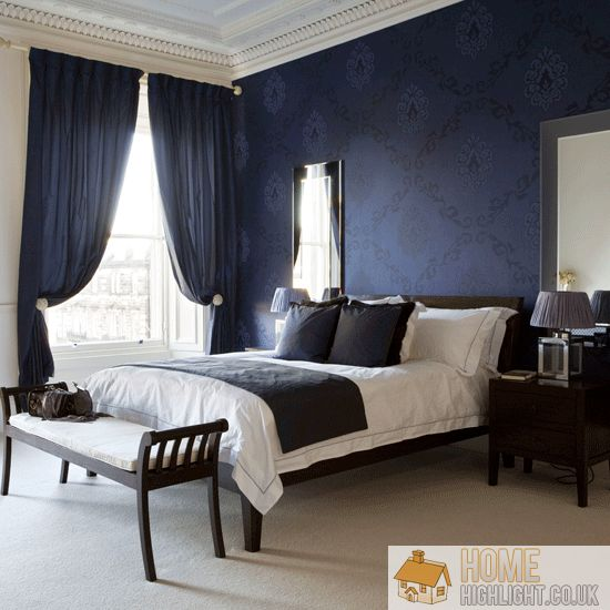dark blue wall bedroom with the dark blue walls