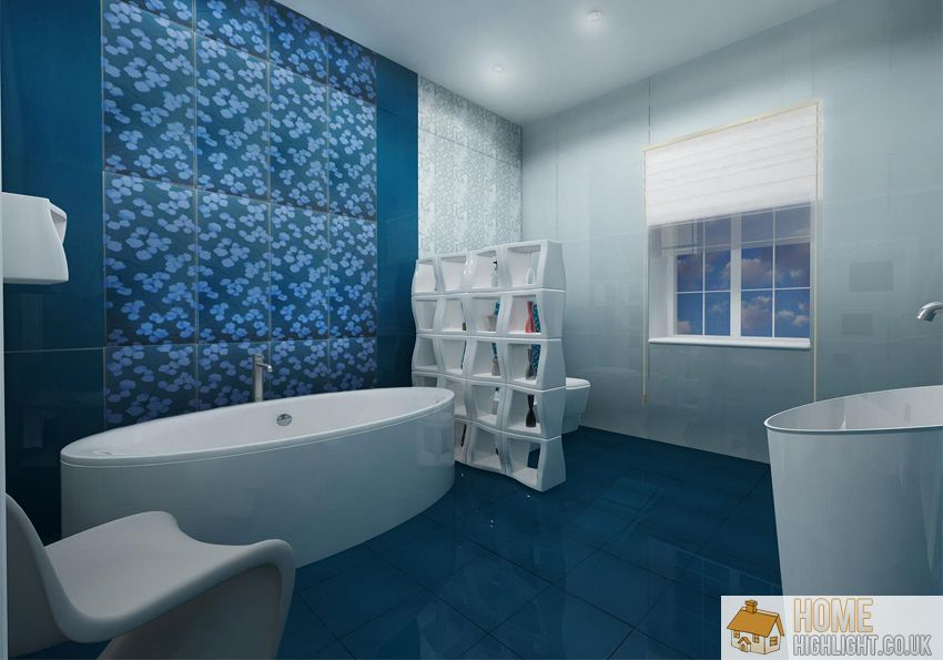 Modern blue bathroom designs ideas home highlight for Blue tile bathroom ideas