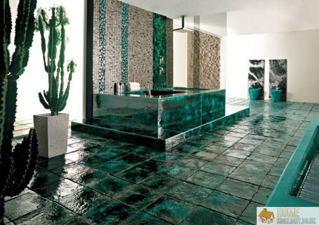 Modern blue bathroom designs ideas home highlight Unique floor tile designs