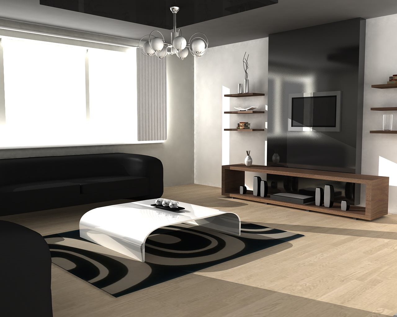 Clean lines create a simply and contemporary living room, with