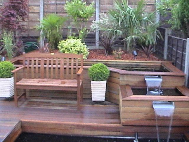 Wood patio garden water feature jpg